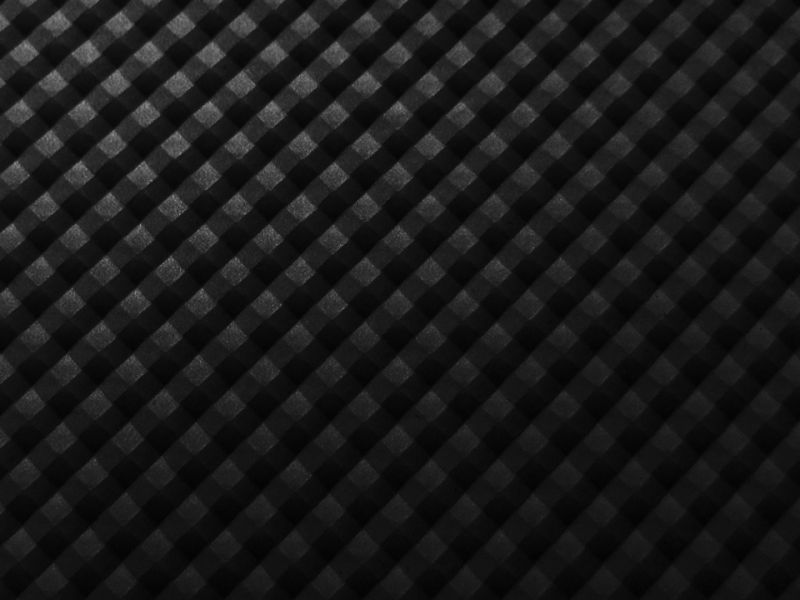 画像1: 合皮 生地 格子(3Dピラミッド)ブラック 光沢 難燃